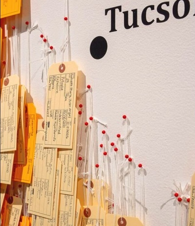 Part of the Hostile Terrain 94 exhibiton, coming to MCLA Gallery 51 in February 2021: More than 3,200 toe tags, each representing someone who lost their life attempting to cross the Sonoran Desert to reach the U.S.