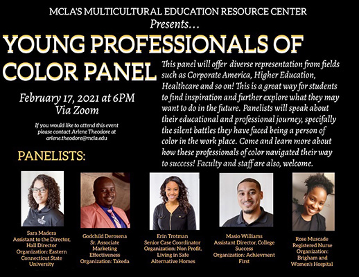 Poster for Young professional of color panel