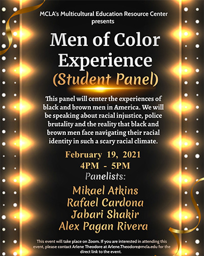 Poster for Men of Color (student panel)
