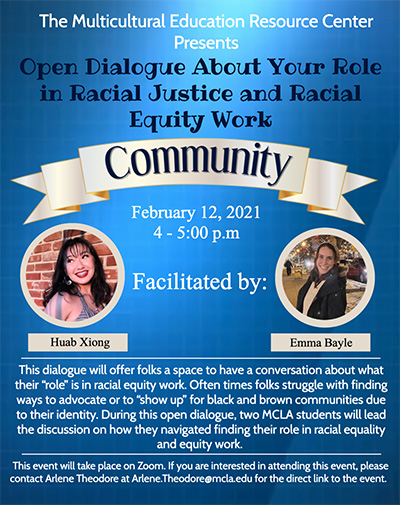 Poster for Open Dialogue about your role in racial justince and racial equity work