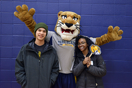 students and trailblazer lion